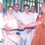 Handing over the donations to Mr. Rathnasiri Wickramanayake, former Prime Minister to be given to Tsunami victims in the presence of Mrs. Ferial Ismail Ashraff, former MP, and President Maithripala Sirisena